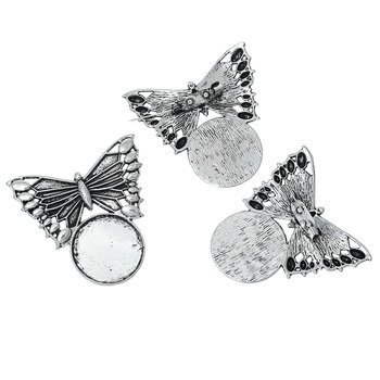 DoreenBeads Brošne Motýľ Antique Silver Cabochon Nastavenia (Fit 25 mm ) 51mm(2
