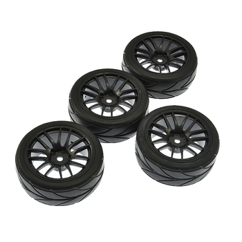 4Pcs RC 1:10 (On-road Auto Tire & rá HSP HPI RC 1:10 Flat Racing Na Cestného Vozidla (black)